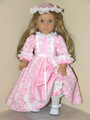 FELICITY, ELIZABETH PINK FLORAL LACE 18 inch Handmade Doll DRESS