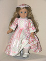 DUSTY ROSE FLORAL STRIPE DRESS for 18 inch American Girl Dolls