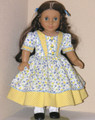 Handmade 1850's Style Doll Dress Cecile, Marie Grace Blue Yellow