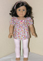 Handmade American Girl Doll Clothes - Flower Shirt, Leggings, Headband