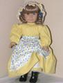 Handmade Kirsten Prairie Doll Dress Bonnet - Blue Yellow Floral
