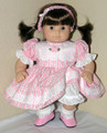 Handmade 15 inch Doll Clothes for Bitty Baby Girl Twin - Dress, Bloomers, Headband - Pink Stripe