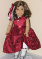 Handmade American Girl Special Occasion Doll Dress Scarlet Satin Lace