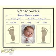 Save The Moment Inkless Birth Print Certificate with Photo