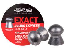 JSB Diablo Exact Jumbo Express .22 Cal, 14.3 Grains, Domed, 250ct