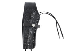 """Hand-Tooled Leather Holster, 6"""", Black, Left Hand"""