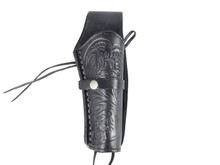 "Hand-Tooled Leather Holster, 6"", Black, Right Hand"