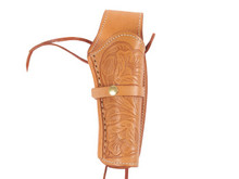 "Hand-Tooled Leather Holster, 6"", Natural, Right Hand"