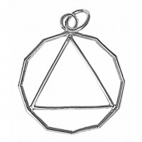 Sterling Silver, 12 Sided Circle Triangle Pendant, Lrg/Med Size