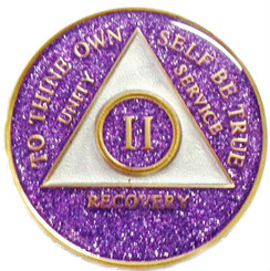 PURPLE GLITTER TRIPLATE MEDALLION