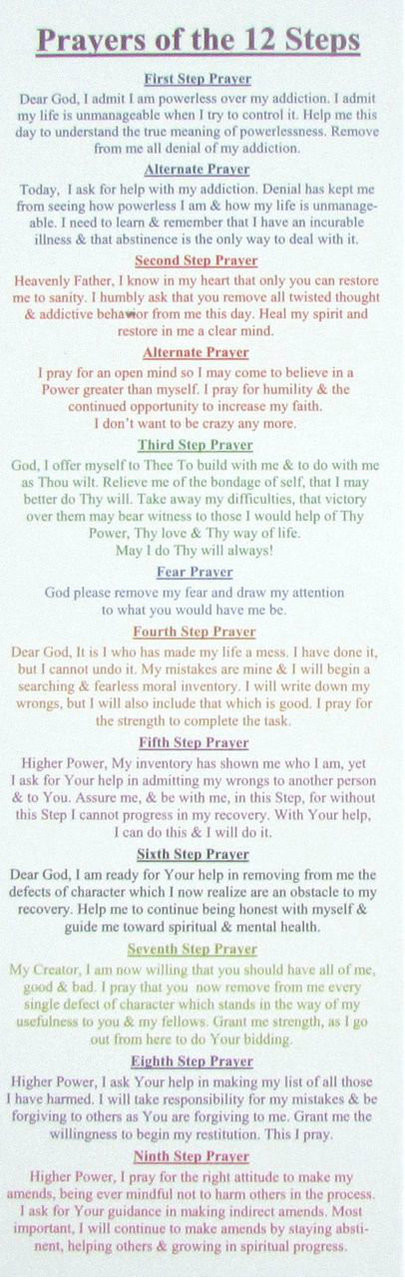 image regarding Aa Promises Printable named Totally free 12 Stage PRAYER BOOKMARK