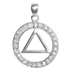 Sterling Silver Pendant, AA Symbol in a Circle of 26 CZ's, Medium Size