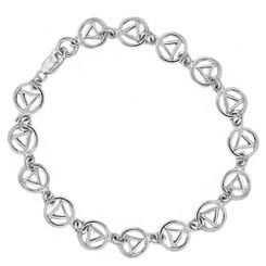 "Beautiful, Sterling Silver, Continuous AA Symbol 7""!!"