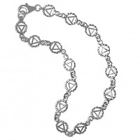 "Sterling Silver, Continuous Twist Wire Style AA Symbol 7"" Bracelet"