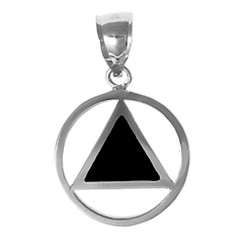 Sterling Silver, AA Symbol Pendant with Black Enamel Inlay, Medium Size*
