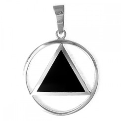 Sterling Silver, AA Symbol Pendant with Black Enamel Inlay, Large Size