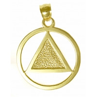 14k Gold, Textured Triangle Pendant, Large Size