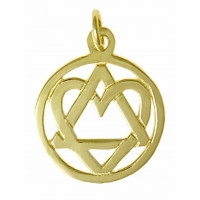 "14k Gold, AA Symbol Pendant with a Open Heart ""Love & Service"", Medium Size"