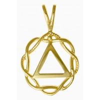 14k Gold, AA Symbol in a Basket Weave Circle, Medium Size
