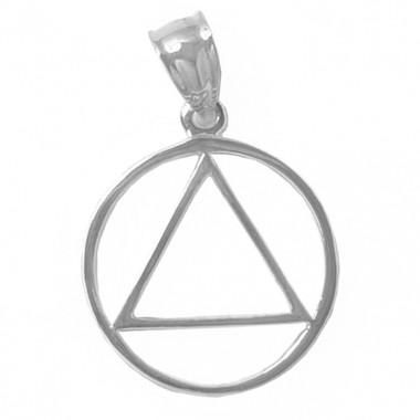 """AA Symbol Pendant, Thick Style, Large Size 13/16"""" Wide by 1-3/16"""" Tall with Bail Hand Finished, High Polished"""