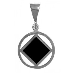 NA Symbol Square with Black Enamel Inlay, Medium size