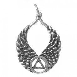 Sterling Silver Pendant, AA Recovery Symbol on Beautiful Angel Wings
