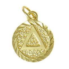 Style #17-2, 14k Gold, Triangle in Solid Textured Coin Style Circle w/Diamond Cut Accents, Small Size