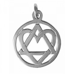 Style #19SS, Medium Size, Sterling Silver, AA Symbol Pendant with a Open Heart, Love & Service
