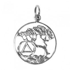 Style #460-SS, Sterling Silver Pendant, AA Recovery Symbol with a Beautiful Tree of Life