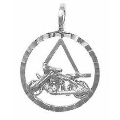 Style #832-SS, Sterling Silver Pendant, AA Symbol in a Diamond Cut Circle with a Harley Motorcycle