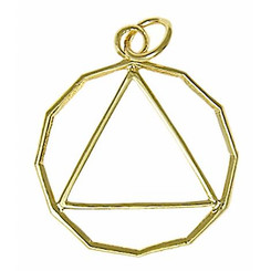 14k Gold, 12 Sided Circle Triangle Pendant