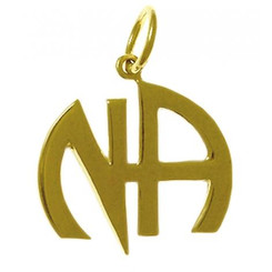 """14k Gold, """"NA"""" Initials Pendant, Smooth Style"""