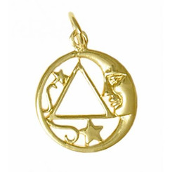 14k Gold, Moon and Star Pendant with AA Symbol