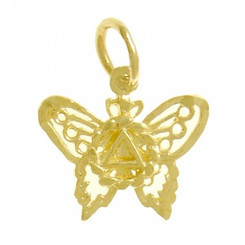 14k Gold Pendant, AA Symbol on a Small Beautiful Butterfly