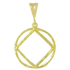 Large Size, 14k Gold Pendant, NA Symbol in a Hammered Wire Style