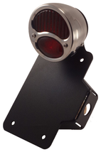 Axle Mount License Plate Bracket - Model A Tail Light - Textured Black - Motorcycle Chopper Bobber Harley Cafe Racer