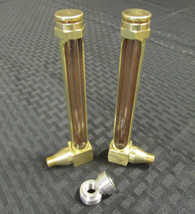 "Oil Bag Sight Window - ""Barrel"" Style External Oil Gauge - Large - Aluminum 1/8"" NPT Stepped Flanged ""Tophat"" Bung"