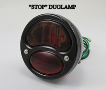 "1928-1931 Black ""STOP"" Lens Ford Model A Tail Light Lamp DUOLAMP 12 VOLT - Gloss Black Powder Coat WITH ""STOP"" LENS - BRAKE (Stop) Light, TAIL (Running) Light and a TAG Light - Chopper Bobber Cafe Racer"