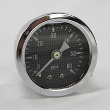 """Marshall 60 psi Oil Pressure Gauge - Shock Proof and Liquid Filled - 1/8"""" NPT Fitting - Carbon Fiber Style Gauge Face - Bobber Chopper Cafe Racer"""