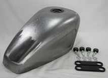 Scalloped Sportster Chopper Bobber Custom Build Gas Tank with Mounting KIT - Steel - 2.3 Gallon Capacity - Motorcycle Cafe Racer Fuel Cell Petrol