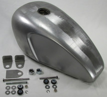Scalloped Legacy Triumph Style Custom Build Gas Tank with Mounting KIT - Steel - 3.8 Gallon Capacity - Motorcycle Chopper Bobber Cafe Racer Fuel Cell Petrol
