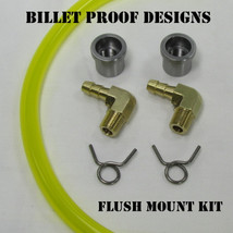 """Motorcycle """"FLUSH MOUNT"""" GAS TANK Fuel Gauge - Yellow Tygon Hose Style External Fuel Gauge - Steel Stepped Flanged """"Tophat"""" Bung - Chopper Bobber Cafe Racer Harley"""