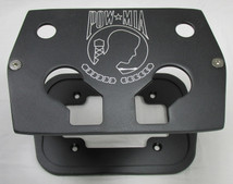 Billet Aluminum Group 34/78 Optima Battery Tray - POW MIA - Textured Black Powder Coat