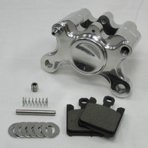 Polished Billet Aluminum Motorcycle 2-Piston Rear Brake Caliper WITH PADS - Harley Chopper Bobber Cafe Racer