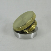 """Motorcycle Polished Brass Gas Tank Cap with Aluminum Stepped Flanged """"Tophat"""" Bung - Chopper Bobber Cafe Racer"""