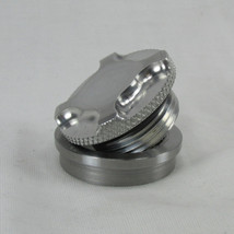 """Motorcycle Machined Billet Aluminum Gas Tank Cap """"FO-STAR"""" with STEEL or ALUMINUM Stepped Flanged """"Tophat"""" Bung - Chopper Bobber Cafe Racer"""