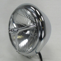 "5-3/4"" Chrome Halogen Round Motorcycle Headlight with Tri-Bar Lens Grill - Custom Bottom Mount Bracket - 12V High Low Beam H4 60/55W Bulb - DOT Approved - Old School Bobber Chopper Cafe Racer Harley Brat"