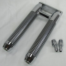 Finned Billet DUAL Oil Cooler for Harley Models - Bolts to Downtubes - Chrome Finish - Many Clamp/Mount Sizes Available - Motorcycle Custom Chopper Bobber