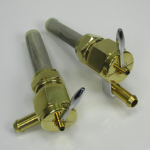 """SIFTON - Forged POLISHED BRASS 1975-2006  Harley Davidson 22mm HI-FLOW Petcock LEFT 90 & Straight Downward Fuel Outlet Shut Off Valve - For Use with 3/8"""" ID Fuel Hose - Replaces HD Part # 62168-81 - Motorcycle Chopper Bobber"""
