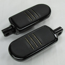 Black Speed-Line CNC Billet Aluminum Motorcycle Footpegs Footrests Set Pegs - For use with MOST models - Harley Bobber Chopper Cafe Racer